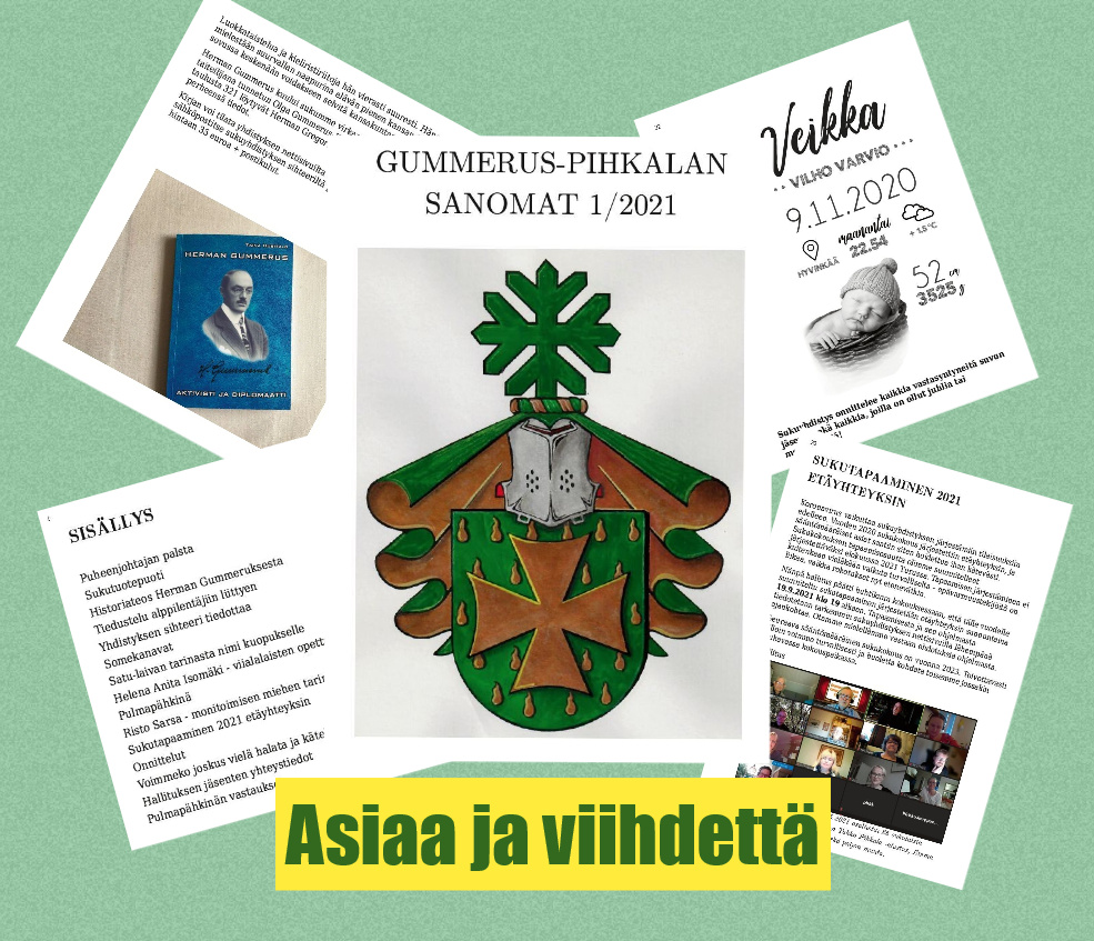 Gummerus-Pihkalan Sanomat 1/2021 sisällöstä